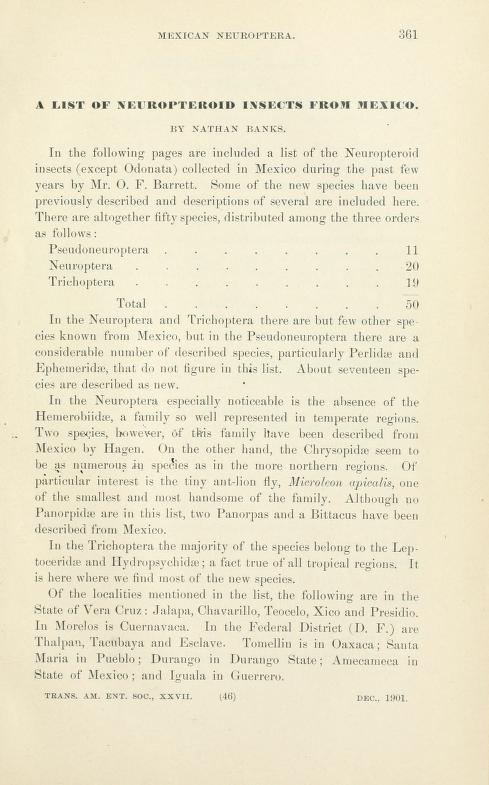 Banks (1901). Trans. Am. Ent. Soc. 27: 361-371