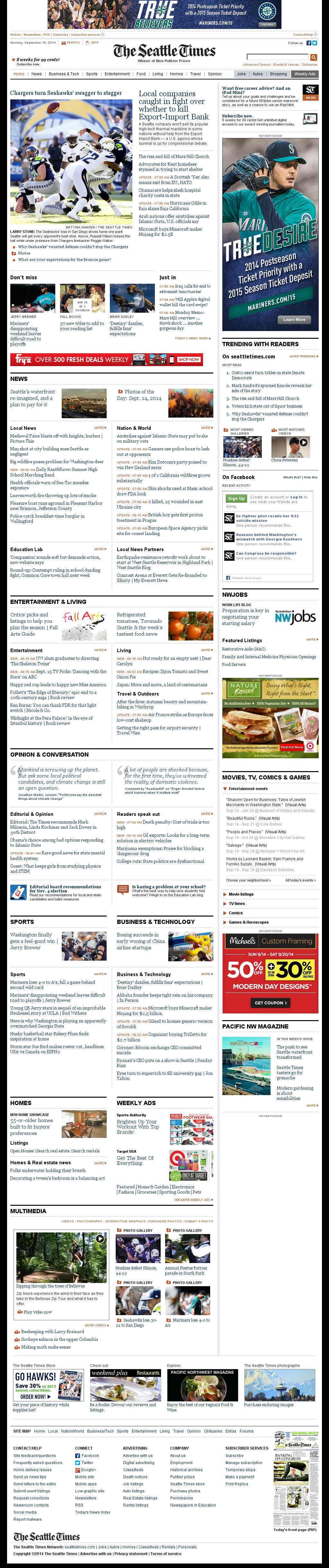 The Seattle Times at Monday Sept. 15, 2014, 3:17 p.m. UTC