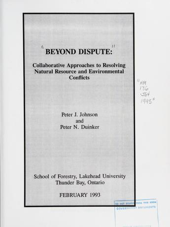 Cover of: Beyond dispute | Peter J. Johnson