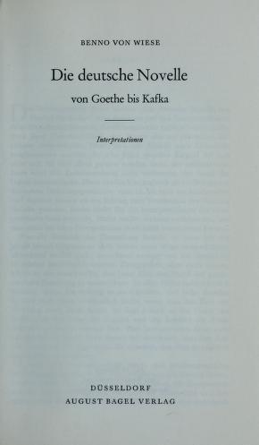 Cover of: Die deutsche Novelle von Goethe bis Kafka | Benno von Wiese
