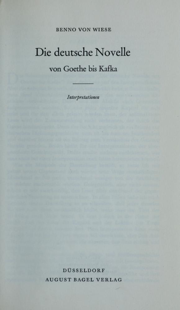Die deutsche Novelle von Goethe bis Kafka by Benno von Wiese