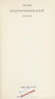 Cover of: Lichtenthaler Allee | Flake, Otto